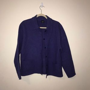 Eileen Fisher purple button up sweater